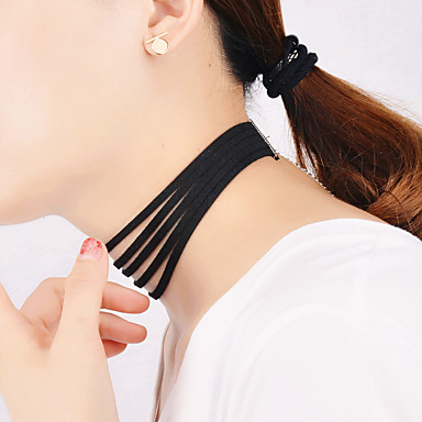 여성용 개인화 빈티지 파티 패션 멀티 레이어 초커 목걸이 계층화 된 목걸이 면 플란넬 초커 목걸이 계층화 된 목걸이 , 파티 일상 캐쥬얼