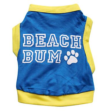 고양이 / 개 티셔츠 블루 강아지 의류 여름 꽃 / 식물 패션