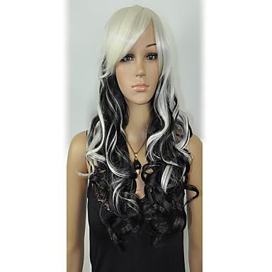 Sentetik Peruklar Dalgalı Yoğunluk Kadın's Beyaz siyah Peruk Sentetik Saç