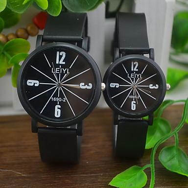 커플용 패션 시계 석영 캐쥬얼 시계 고무 밴드 블랙