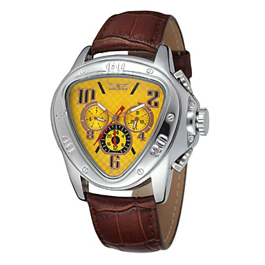 WINNER Homens relógio mecânico Relógio de Pulso Automático - da corda automáticamente Calendário Couro Banda Luxo Preta