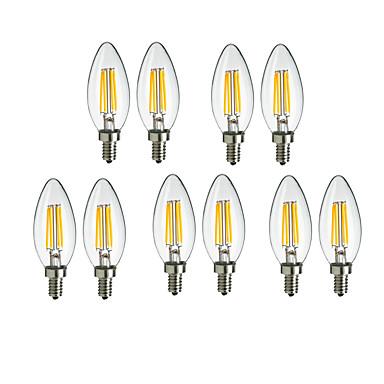 4 W LED Λάμπες Πυράκτωσης 360 lm E14 C35 4 LED χάντρες COB Διακοσμητικό Θερμό Λευκό Ψυχρό Λευκό 220-240 V, 10pcs / 10 τμχ / RoHs
