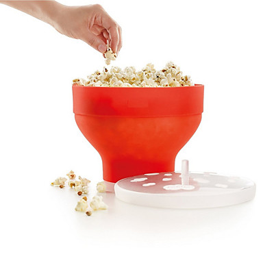 전자 렌지 팝콘 메이커 실리콘 팝 옥수수 그릇 양동이 뚜껑 부엌 제빵 도구