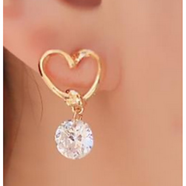 c63113e22 Women's Cubic Zirconia Drop Earrings Solitaire Round Cut Heart Cheap Hollow  Heart Ladies Simple Sweet Fashion