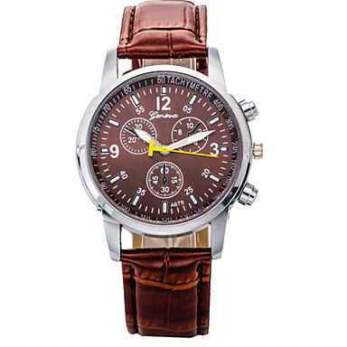 WasserdichteHerren Analog Quarz-Armbanduhr mit Pu Leder Armband gz0009017 (Braun)