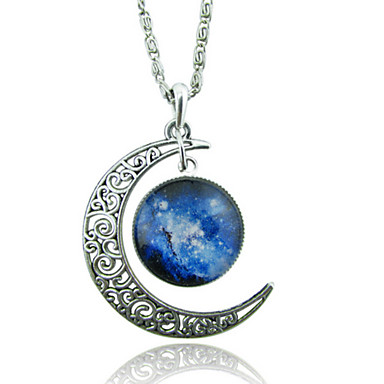 Women's Pendant Necklace - Moon, Galaxy Unique Design, European, Fashion White / Blue, Silver-Blue, Purple / Blue Necklace For Wedding, Party, Special Occasion