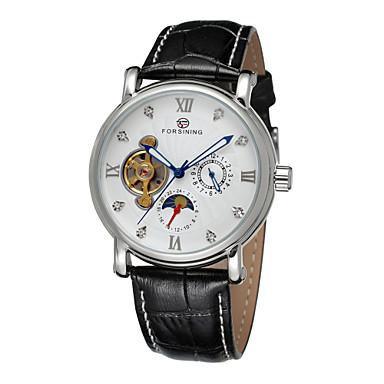 FORSINING Masculino Relógio Elegante relógio mecânico Automático - da corda automáticamente Gravação Oca Couro Banda Preta Branco Preto