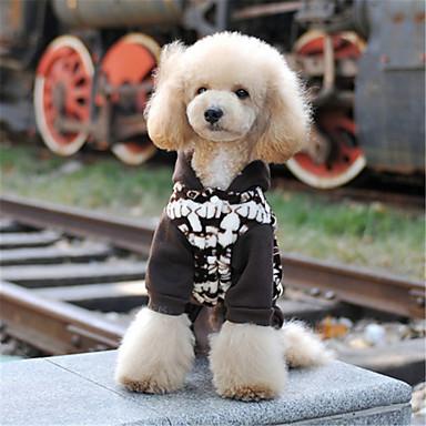 강아지 후드 강아지 의류 캐쥬얼/데일리 꽃 / 식물 컬러 블럭 커피 그린