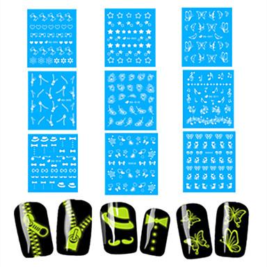 1 Nail Art matrica Víz Transfer matrica Körömfestés tippek Rajzfilmfigura Szeretetreméltő Fény- a-sötétben smink Kozmetika Nail Art Design