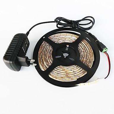 zdm® 방수 5m 300x3528 백색 / 온난 한 백색 빛지도 된 연결 관 및 eu / us / uk ac110-240v에서 dc12v / 2a로 변형하십시오