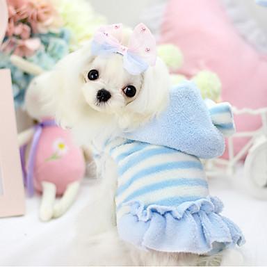 강아지 후드 / 드레스 강아지 의류 스트라이프 블루 / 핑크 폴라 플리스 / 면 코스츔 애완 동물 여성용 따뜻함 유지