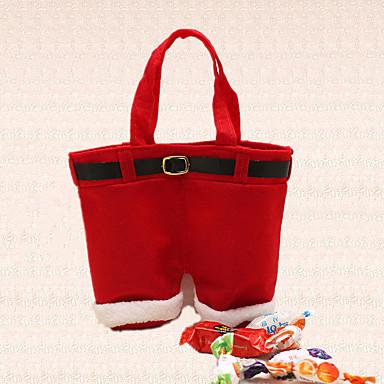 1db karácsonyi mikulás nadrág harisnyatartó cukorka táska dekoráció ünnep vacsora ajándék