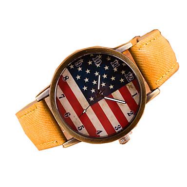 여성용 패션 시계 팔찌 시계 석영 캐쥬얼 시계 가죽 밴드 Randig 블랙 화이트 노란색