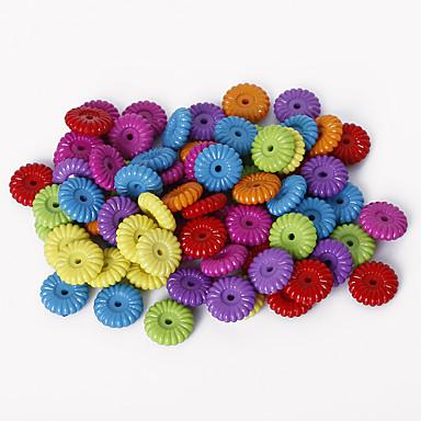 beadia válogatott színes akril gyöngyök 3x10mm lapos kerek műanyag távtartó laza gyöngyök (50g / kb 240pcs)