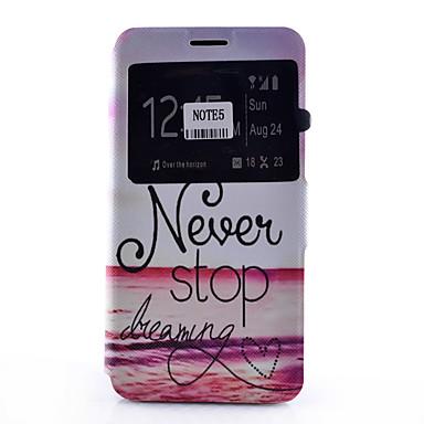 Case Kompatibilitás Samsung Galaxy Samsung Galaxy Note Kártyatartó Állvánnyal Betekintő ablakkal Flip Minta Héjtok Szó / bölcselet Puha