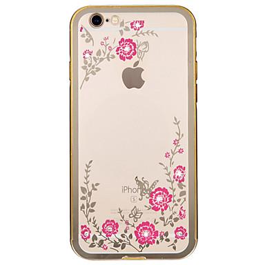 Mert iPhone 6 tok / iPhone 6 Plus tok Strassz / Galvanizálás Case Hátlap Case Virág Puha Fém AppleiPhone 6s Plus/6 Plus / iPhone 6s/6 /