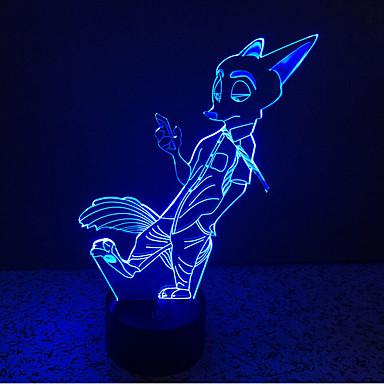 fox touch ściemnianie 3d led night light 7 kolorowa dekoracja atmosfera lampa nowość oświetlenie światło