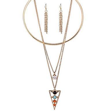 폴리 유럽과 모두 일치하는 다층 크리스탈 목걸이 귀걸이 과장 미국은 삼각형을 설정할 수 있습니다