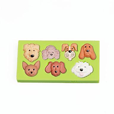 애완 동물 강아지 개 얼굴 실리콘 곰팡이 퐁당 케이크 장식 도구 색상 무작위