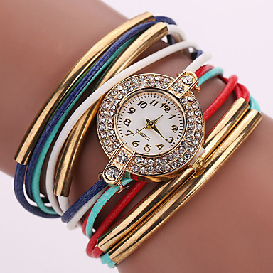 Women's Quartz Wrist Watch Bracelet Watch Rhinestone Colorful Imitation Diamond PU Band Sparkle Vintage Casual Bohemian Fashion Black