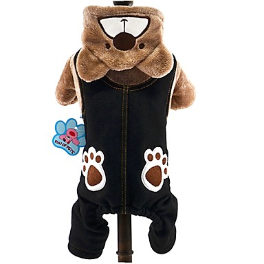 Cat Dog Costume Hoodie Jumpsuit Dog Clothes Animal Gray Brown Corduroy Costume For Spring &  Fall Winter Men's Women's Cosplay Keep Warm