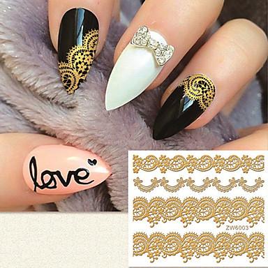 패션 금 3 차원 lacework와 네일 스티커