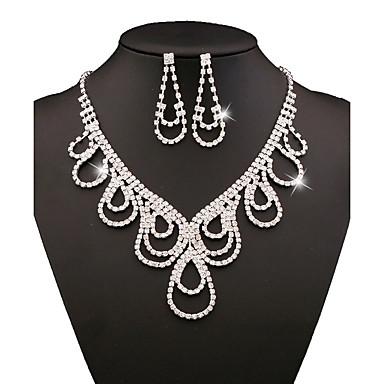 여성 보석 세트 신부 보석 세트 패션 구리 라인석 은 도금 목걸이 귀걸이 제품 파티 일상 캐쥬얼 결혼 선물