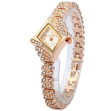 아가씨들 패션 시계 모조 다이아몬드 시계 / 석영 스테인레스 스틸 밴드 나뭇잎 캐쥬얼 로즈 골드