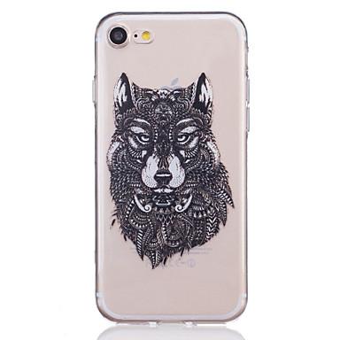 Kılıf Na Apple iPhone X iPhone 8 iPhone 6 iPhone 7 Plus iPhone 7 Przezroczyste Wzór Wytłaczany wzór Czarne etui Zwierzę Miękkie TPU na