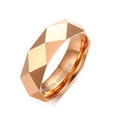 남성용 로즈 골드 / 로즈 골드 도금 밴드 링 - Geometric Shape 개인화 / 패션 골드 / 핑크 반지 제품 크리스마스 선물 / 결혼식 / 파티