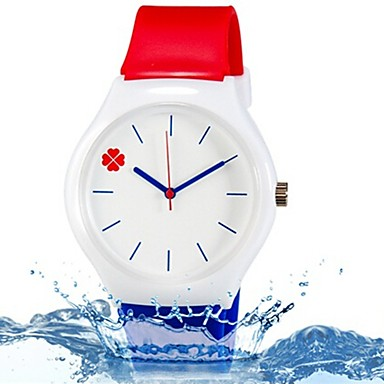 석영 손목 시계 컬러풀 실리콘 밴드 나뭇잎 캔디 캐쥬얼 패션 멋진 블루 레드