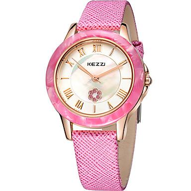 KEZZI 여성용 석영 손목 시계 / 뜨거운 판매 가죽 밴드 캐쥬얼 패션 멋진 블랙 화이트 핑크 퍼플 로즈