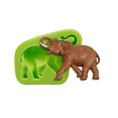 동물 코끼리 실리콘 곰팡이 케이크 장식 수공예 도구 폴리머 찰흙 fimo 퐁당 만들기 색상 무작위