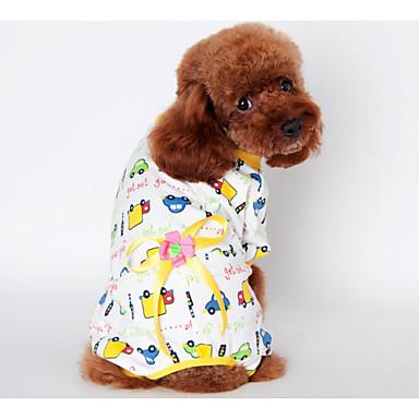 강아지 의상 파자마 강아지 의류 꽃장식 옐로우 블루 핑크 면 코스츔 애완 동물 남성용 따뜻함 유지