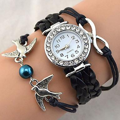 Mulheres Relógio de Pulso Bracele Relógio Relógio de Moda Quartzo Com Strass imitação de diamante PU Banda Brilhante Heart Shape Vintage