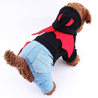 개 코스츔 점프 수트 강아지 의류 겨울 모든계절/가을 천사 & 악마 귀여운 코스프레 할로윈 블랙 레드