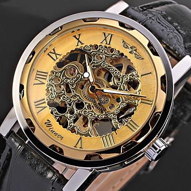 edfe52488ad WINNER Homens Relógio Esqueleto Relógio de Pulso relógio mecânico Mecânico  - de dar corda manualmente Couro