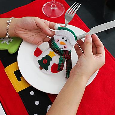 4db hóember késsel és villával táskák karácsonyi asztali díszek