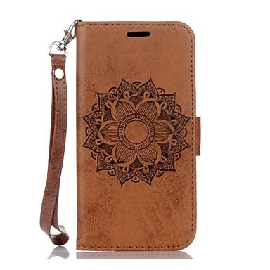 Capinha Para Samsung Galaxy Samsung Galaxy S7 Edge Porta-Cartão Carteira Com Suporte Com Relevo Capa Proteção Completa Mandala Rígida PU