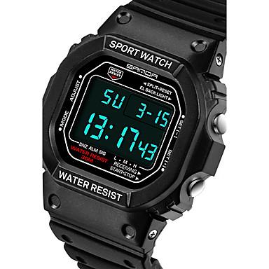 SANDA Męskie Sportowy / Inteligentny zegarek / Zegarek na nadgarstek Chronograf / Wodoszczelny / LED Silikon Pasmo Na co dzień / Modny Czarny / Srebro / Dwie strefy czasowe / Stoper / Srebrzysty