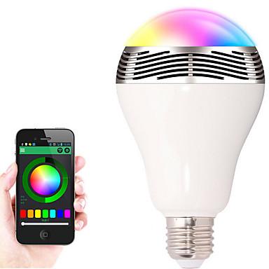 1db e27 bluetooth vezérlés okos zene audio hangszóró led rgb színes izzó fény lámpák (ac85-265v)