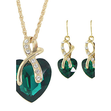 Women's Jewelry Set - Rhinestone Heart Fashion Include Hoop Earrings / Pendant Necklace / Necklace / Earrings Red / Green / Blue For Wedding / Gift / Daily