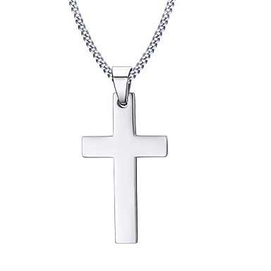 cheap Necklaces-Men's Pendant Necklace Cross Ladies Personalized Basic Fashion Stainless Steel Silver Necklace Jewelry For Christmas Gifts Daily Casual Sports