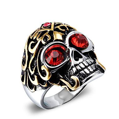 남성용 문자 반지 패션 빈티지 펑크 스타일 지르콘 티타늄 스틸 Skull shape 보석류 제품 Halloween 일상 캐쥬얼 크리스마스 선물