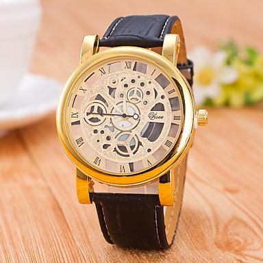 남성용 스켈레톤 시계 기계식 시계 / PU 밴드 캐쥬얼 블랙 브라운