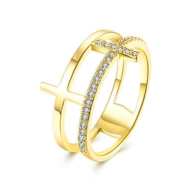 Damskie Band Ring Cyrkonia Rose Golden Cyrkon Cyrkonia Miedź Imitacja diamentu Křížky Luksusowy Modny Europejski Ślub Impreza Casual