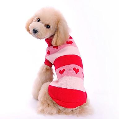 고양이 강아지 스웨터 강아지 의류 심장 레드 블루 아크릴 섬유 코스츔 애완 동물 남성용 여성용 귀여운 캐쥬얼/데일리