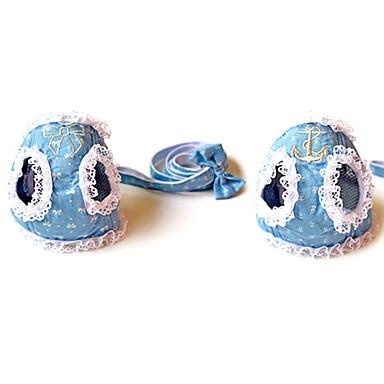 강아지 칼라 하니스 가죽끈 소프트 안전 달리기 조끼 캐쥬얼 코스프레 리본매듭 패브릭 블루