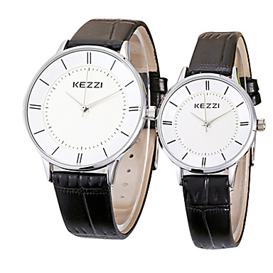KEZZI Dla par Kwarcowy Zegarek na nadgarstek / Gorąca wyprzedaż Skóra Pasmo Na co dzień Minimalistyczny Nowoczesne Czarny Biały Brązowy