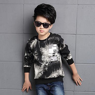 billige Drengetøj-Drenge Blomster Afslappet / Hverdag Trykt mønster Langærmet Normal Normal Bomuld Hættetrøje og sweatshirt Sort